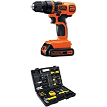 BLACK+DECKER LDX120C 20-Volt MAX Lithium-Ion Cordless Drill/Driver and Stanley 94-248 65-Piece Homeowner's Tool Kit
