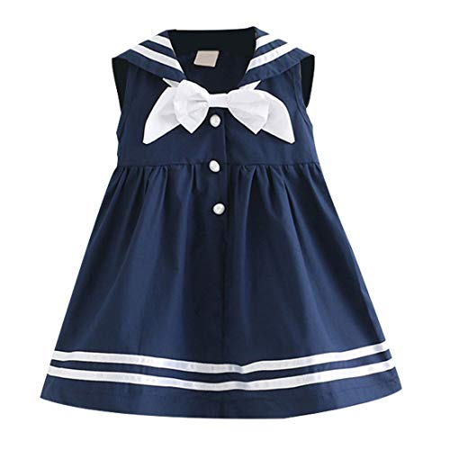 Fairy Baby Little Girls Summer Sleeveless Dress Kids Casual Nautical Sailor School Uniforms Size 4T (Dark Blue) ()