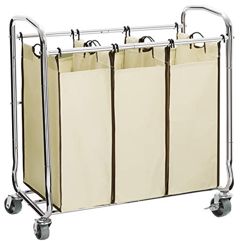 SONGMICS 3-Bag Laundry Sorter Cart on Wheels, Heavy Duty Hamper with Removable Bags, Beige URLS72MZ