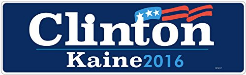 "BUMPER STICKER: Clinton Kaine 2016 Vinyl . 3"" x 10"" Vote Hillary and Tim. Democrat Election Campaign"