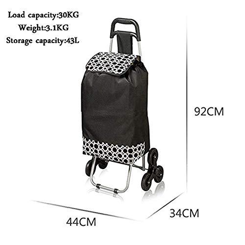 Vineyard Trolley Luggage Folding Shopping cart Hard Roller cart Flat Pocket Luggage Trolley Bag (Color : Black)