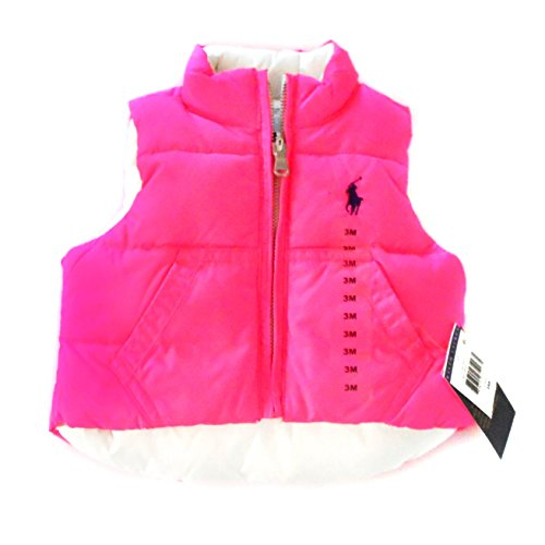 Polo Ralph Lauren Baby Girl Infant Down Puffer Reversible Vest Neon Pink White - Ralph Bag Polo