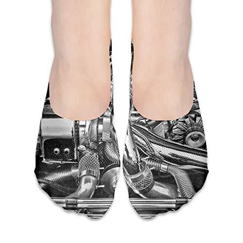 Black Joke Engine - PangYuen Black and White Car Engine Women's Polyester Cotton Socks Ladies Boat Socks Deodorant Boat Socks Thin Section Casual Socks Low Breast Socks