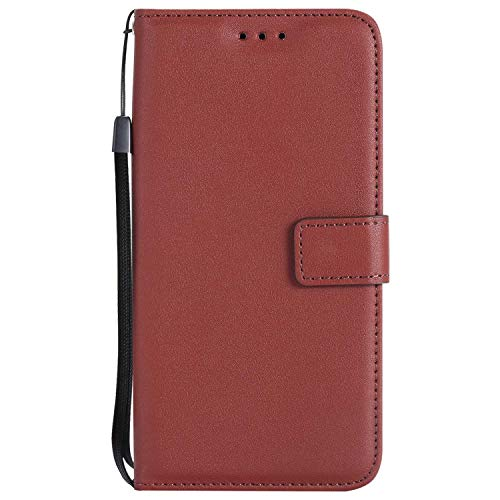 UNEXTATI Huawei P10 Lite Case, Leather Magnetic Closure Flip Wallet Case with Card Slot and Wrist Strap, Slim Full Body Protective Case (Brown #6) (Best Hair Relaxer 2019)