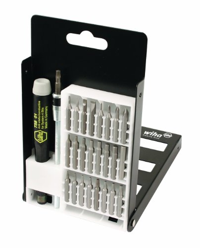 (Wiha 75992 System 4 Precision Interchangeable Bit Set, Torx, Slotted, Phillips, Hex Inch, ESD Safe Precision Handle, 27 Piece In Compact Box)