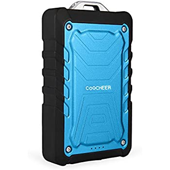 Coocheer 7500mAh Portable Water Resistant Power Bank Rugged Mobile Phone Travel Water/Shock/Dust Proof External Battery Charger with Dual USB Port - Blue
