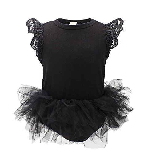 stylesilove Baby Girl Cap Sleeve Ruffle Cotton Romper with Tulle Tutu Skirt (90/12-18 Months, Black/Cap Sleeves)