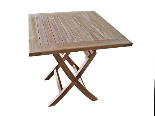 Tinggal Gartentisch Jessica Teak Holz Gartenmöbel Klapptisch Massiv Quadratisch 70cm DI2924