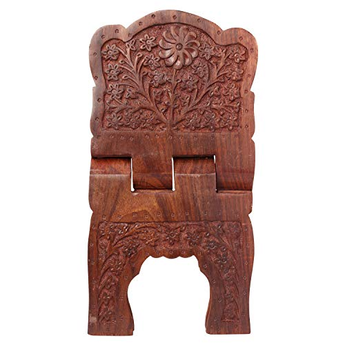- Wooden Floral Carved Holy Book Stand Gita Quran Bible Holder Free Reading Book Display Folding Religious Prayer Stand