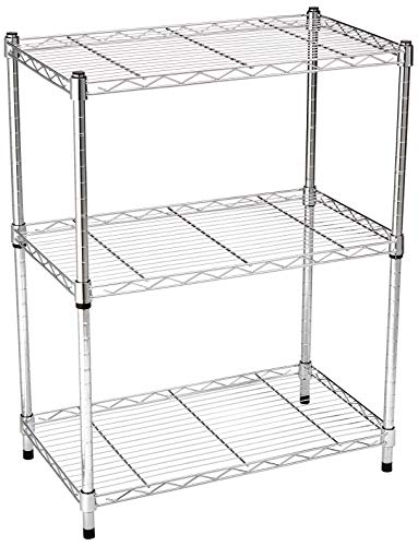 AmazonBasics 3-Shelf Shelving Storage Unit, Metal Organizer Wire Rack, Chrome Silver (23.2L x 13.4W x 30H) (Organizer Closet Wire Kits)