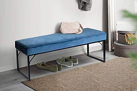 Tabouret en Velours Bleu pour Chambre /à Coucher LIFA LIVING Banquette dint/érieur pour 2 Personnes Style Vintage Salon et entr/ée