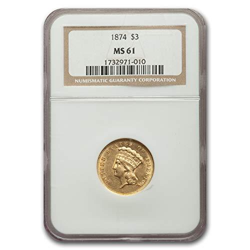 1874 $3 Gold Princess MS-61 NGC $3 MS-61 NGC