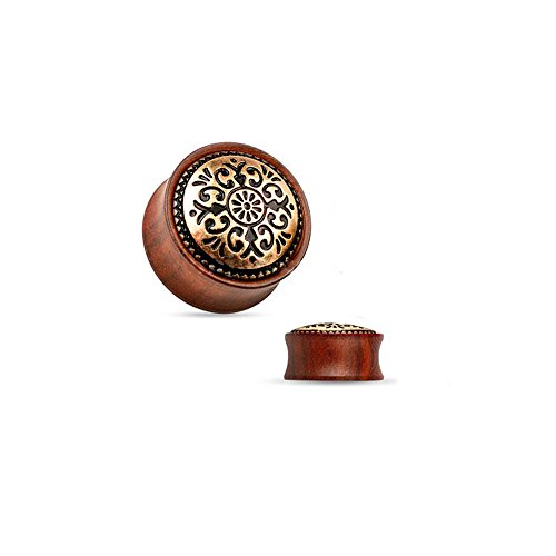 BodyJewelryOnline Organic Ear Plugs - Antique Tribal Brass Inlay Wood Saddle Fit Double Flare Rose Wood Plugs (08mm - 0g)