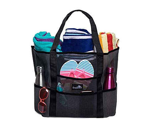 Dejaroo Mesh Beach Bag - Toy Tote Bag - Large Lightweight Market, Grocery & Picnic Tote with Oversized Pockets (Black with Black handles) ()