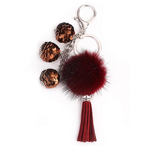 Ikevan Hot Selling Rabbit Faux Fur Tassel Keychain Bag Handbag Key Ring Car Key Pendant - Wine Tiles Label