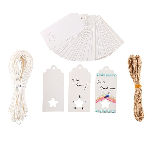 DECORA 120 Pieces White Hollow Star Kraft Paper Tag DIY Blessing Cards Greeting Card Wedding Label Bonbonniere Favor Gift Tags with Jute Twines