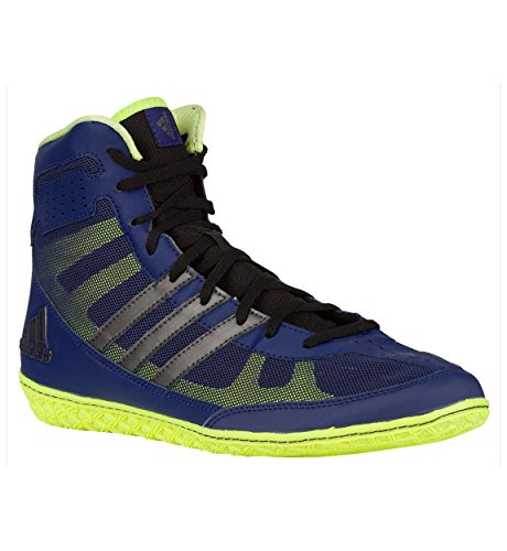 Adidas Mat Wizard Wrestling Shoes Navy/Silver/Lime Green Size 11.5