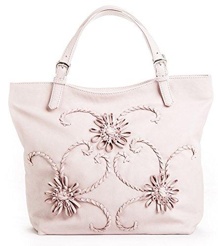 Passione Mujer Giglio Pink bolso shopper con piel trenzada a mano