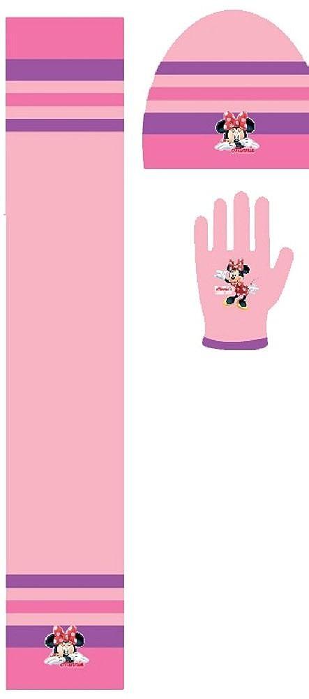 set cappello sciarpa e guanti bimba MINNIE (rosa chiaro)