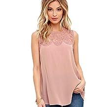 Charberry Women Chiffon Lace Sleeveless Shirt Blouse Casual Tank Tops