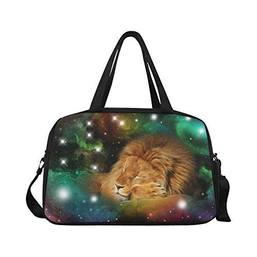 InterestPrint Zodiac Leo Galaxy Lion Duffel Bag Travel Tote Bag Handbag Luggage