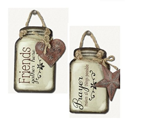Set of 2 Mason Jar Design Tin Sign Hanger - Friends Gather Here