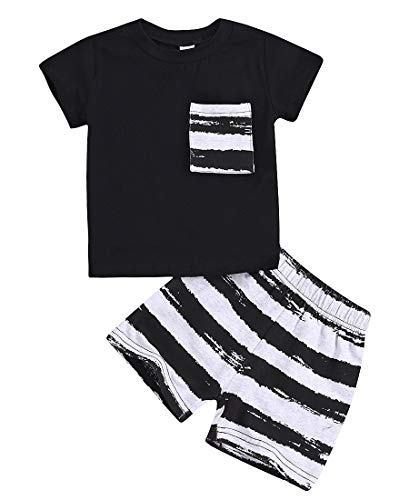 Infant Baby Boy Clothes Sets Summer Cotton Short Sleeve T Shirts and Shorts Kids Outfits Sets(Black, 2-3 Years)