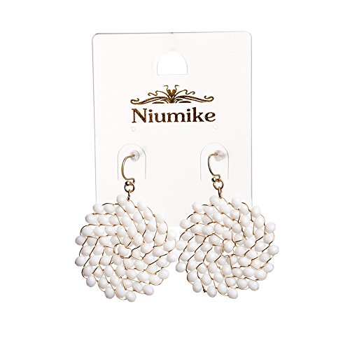 Niumike Crystal Seed Braided Circle Earrings,Hand Made Drop Dangle Earrings Jewelry,1.38 IN Disk With Free Flannel Bag