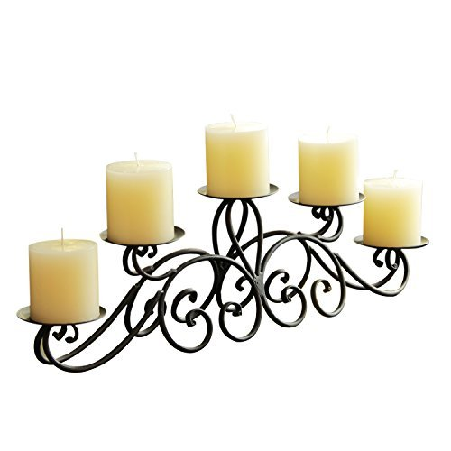 5 Candle Holder (Adeco Iron Table Desk Top Pyramid Layout Scroll Design 5 Pillar Candle Holder)