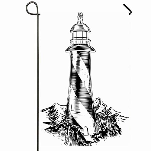 Ahawoso Outdoor Garden Flag 12x18 Inches House Sketch Lighthouse Vintage Lithograph Rough Waves White Water Wood Woodblock Black Sea Design Seasonal Home Decorative House Yard Sign