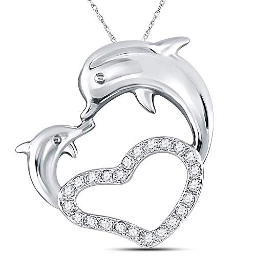 Dazzlingrock Collection 14kt White Gold Womens Round Diamond Double Dolphin Heart Pendant 1/6 Cttw ()