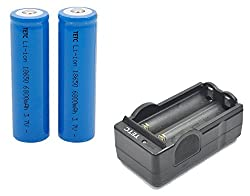 2Pcs TETC 18650 3.7V 6800mAh Lithium Ion Parallel Battery with dual Charger by TETC