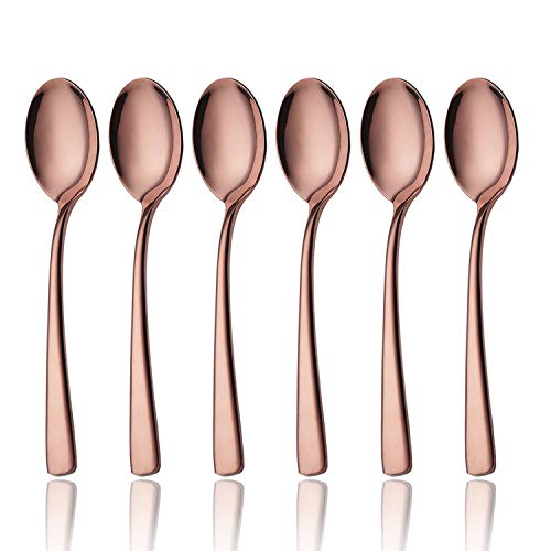 OMGard Rose Gold Teaspoon Set, 6 Piece 18/10 Stainless Steel Flatware Bulk 6.7-inch Small Dessert Tea Spoons Only Service for 6 Table Silverware Sets Eating Utensils Cutlery Dishwasher Safe Copper ()