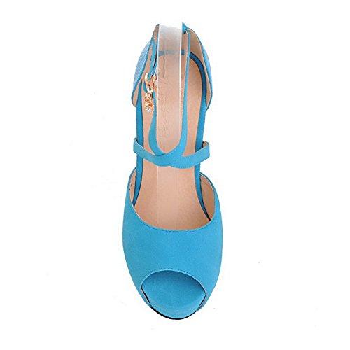 AllhqFashion Mujeres Peep Hebilla Pu Esmerilado Sólido Plataforma Sandalia Azul