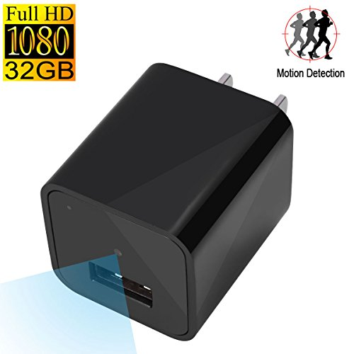 UYIKOO HD Hidden Spy Camera Motion Activated Recording USB Charger Camera Home Security 32GB Memory