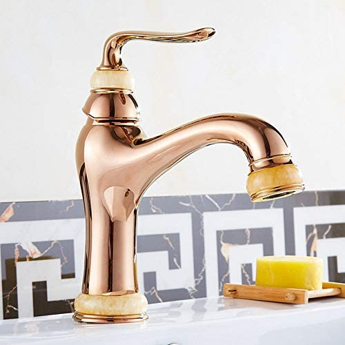 キッチン蛇口、アンティークシンクタップ、シングルハンドルスイベルスパウトソリッドブラスミキサー浴室の蛇口、ローズゴールド