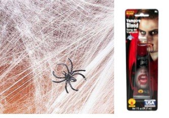 [Halloween Spider Web Webbing w 4 Spiders 2 Pack of Creepy Scary & Vampire Blood Decor Scarecrow Autmn Fall Turkey Pilgrim Pumpkin Turkey Harvest Decor Decoration Decorations Tray Spider] (Homemade Pilgrim Costumes For Girls)