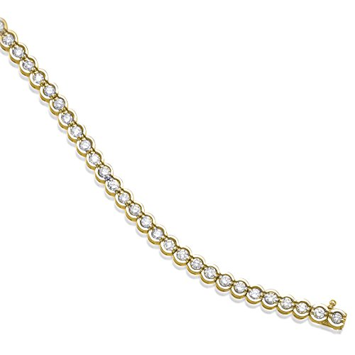 14K Yellow Gold Round Diamond Circular Style Tennis Bracelet (8 Inch Length) by Direct-Jewelry