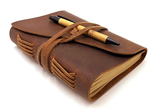 - Leather Bound Journal, Vintage Writing Notebook with a Bamboo Ballpoint Pen Genuine Leather 240 Pages (120 Sheets) A6 Size 5 X 7 inches Travel Diary Gifts for Men & Women - Handmade Crafts