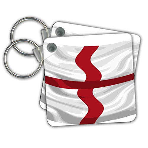 (3dRose Taiche - Vector - St Georges Cross - Flag Of England St George Cross - set of 6 Key Chains (kc_308649_3))