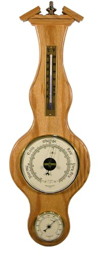 Banjo Barometer Thermometer Hygrometer in Light Oak by West and Company