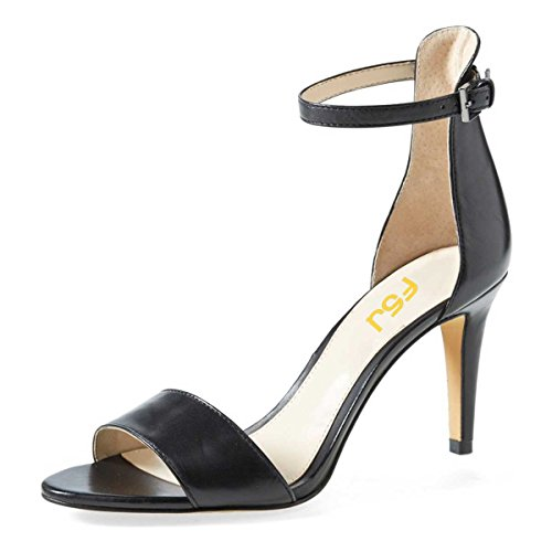FSJ Women Comfy Open Toe Summer Sandals Ankle Strap Kitten Mid Heels Shoes Patent Leather Size 14 Black-Matte