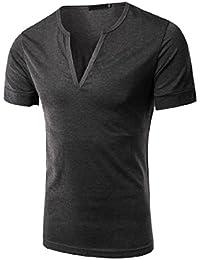 Zimaes Men's Short Sleve V Neck Solid ComfortSoft Slim Fit T-Shirt