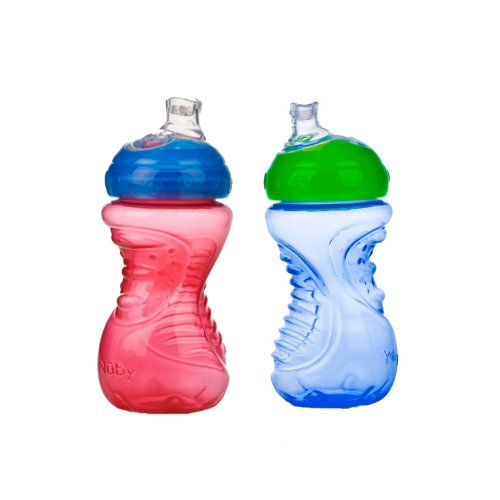 Nuby 2-Pack No-Spill Super Spout Easy Grip Cup, 10 Ounce, Red and ()