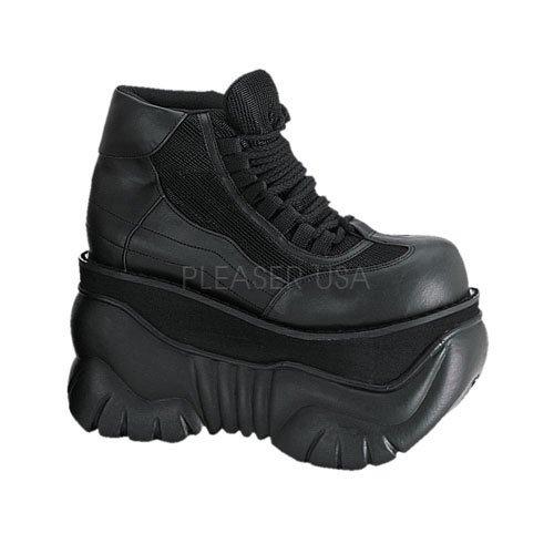 Demonia Men's/Unisex 4 Inch Platform Laceup Sneaker Shoes (Black PU;10)
