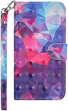 Galaxy J7 Case, J7 Wallet Case 3D Effect Painted PU Leather Cover Soft TPU Magnetic Closure & Kickstand Cash Credit Card Slots Skin for Samsung Galaxy J7 2018 Version, Multi-Colored