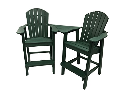 Phat Tommy Recycled Poly Resin Balcony Chair Settee – Durable and Adirondack Patio Furniture, Green (Furniture Tommy)