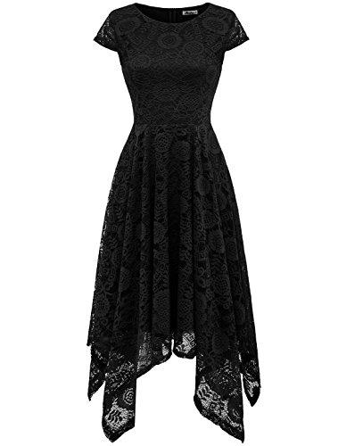 AONOUR AR8009 Women's Floral Lace Cap Sleeve Handkerchief Hem Cocktail Party Swing Dress Black S ()