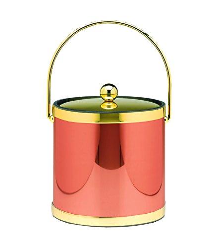 Kraftware Vinyl and Mylar Ice Bucket, 3 quart, Copper/Brass (Bucket 3 Mylar Ice Qt)