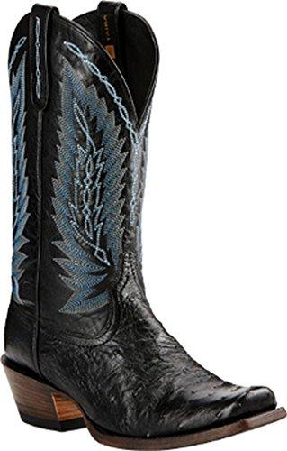 Ariat Heren Voorraad Tonen Western Cowboy Boot Zwart Vol Quill Struisvogel